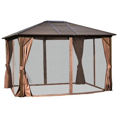 Outsunny 12' x 10' Outdoor Hardtop Canopy Patio Gazebo with Steel Roof Aluminum Farme Fully Enclosed Zippered Curtains & Breathable Netting Sidewall
