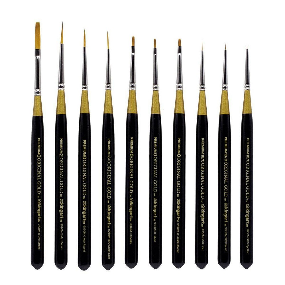Image of Kingart 10pc Original Mini Brush Set - Short handle - Gold