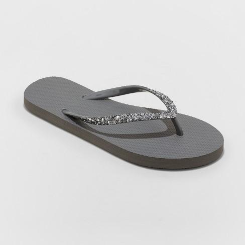 e7341638364 Women s Brynn Glitter Flip Flop - Shade   Shore™ Gray 8   Target