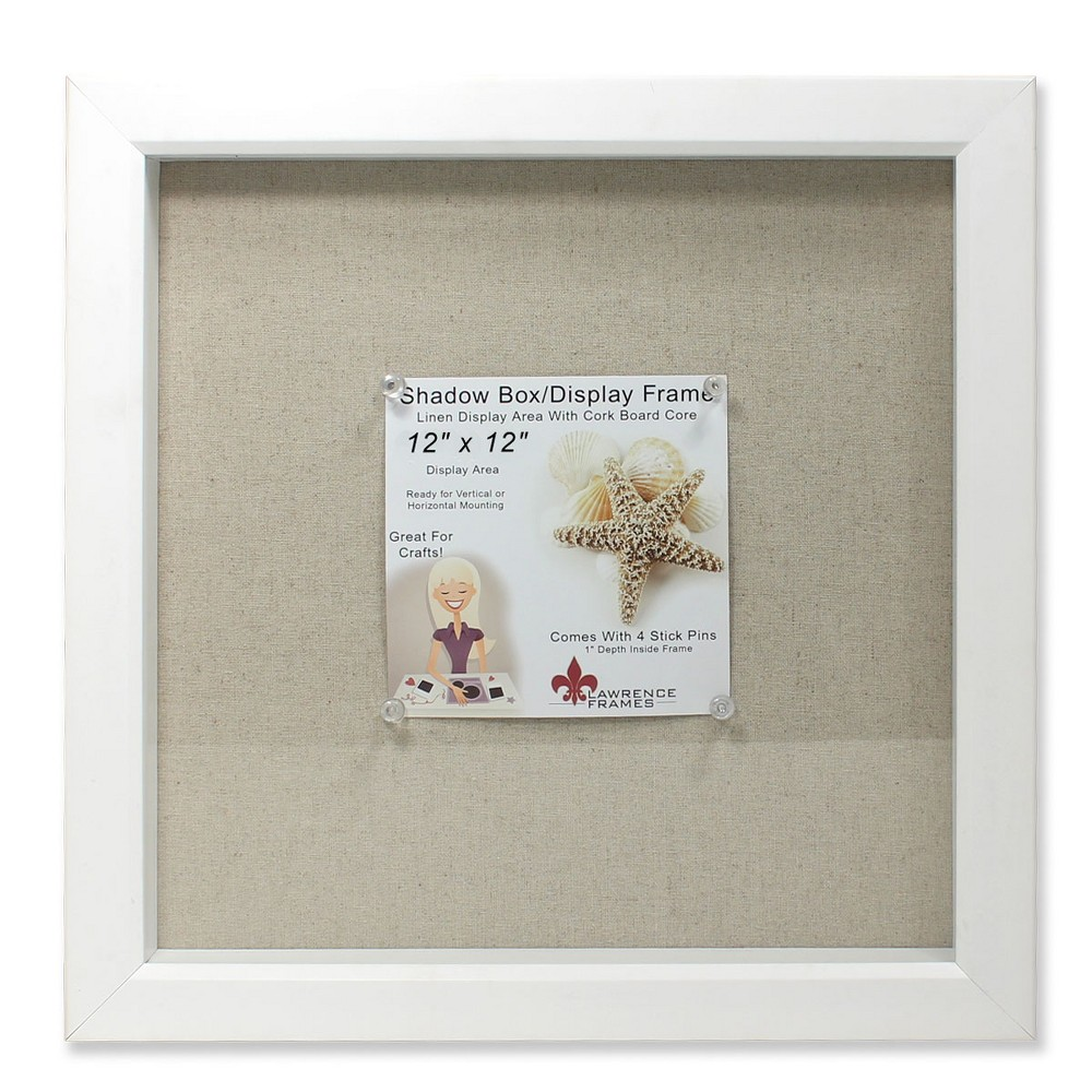 "Image of ""12""""x12"""" Linen Inner Display Shadow Box Frame White - Lawrence Frames"""