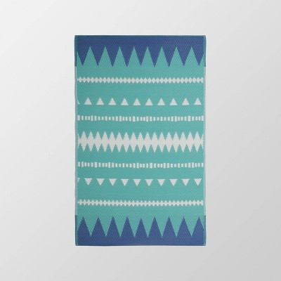 4'x6' Vector Outdoor Boho Scatter Rug Turquoise/White - Christopher Knight Home