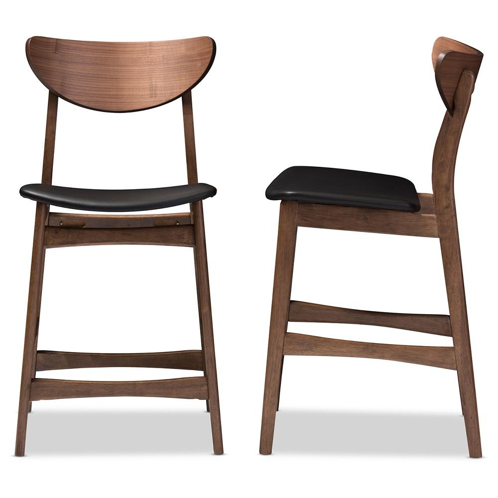 """Image of """"24"""""""" Latina Mid - Century Modern Faux Leather Upholstered Wood Finishing Counter Stool Black - Baxton Studio"""""""