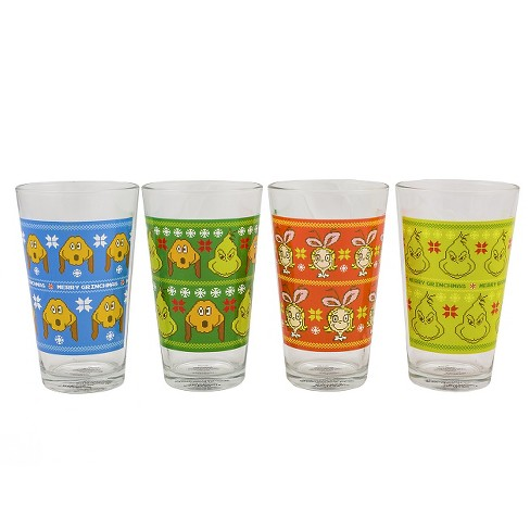ac1ae97122 Grinch 16oz 4pk Pint Glasses Multicolored   Target