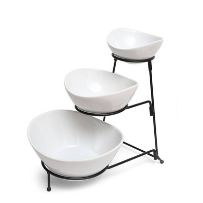 Gibson Home Ceramic Gracious 3-Tier Serving Bowl Set with Metal Stand