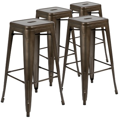 "Flash Furniture 30"" High Metal Indoor Bar Stool - Stackable Set of 4"