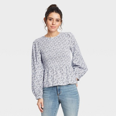 Women's Puff 3/4 Sleeve Smocked Blouse - Universal Thread™