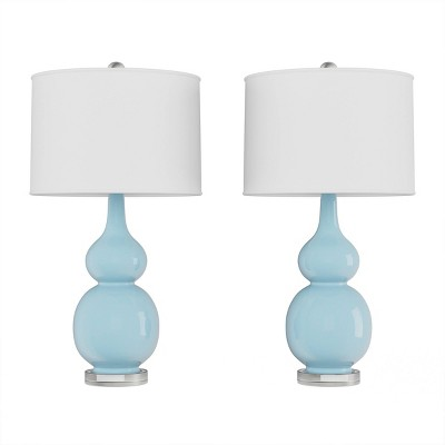 Set of 2 Ceramic Double Gourd Table Lamps (Blue)