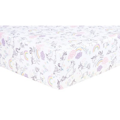 Trend Lab Fitted Crib Sheet - Unicorn Rainbow