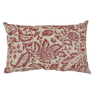 Red/Tan Floral Damask Lumbar Throw Pillow (11.5 x18.5 )- Pillow Perfect