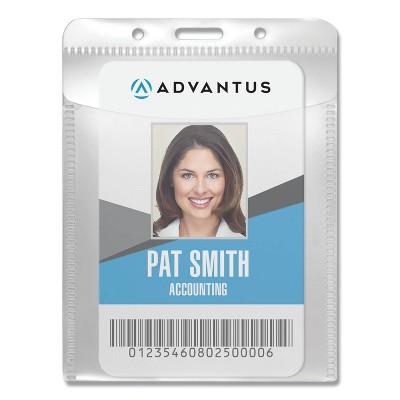 "Advantus PVC-Free Badge Holders, Vertical, 3"" x 4"", Clear, 50/Pack"