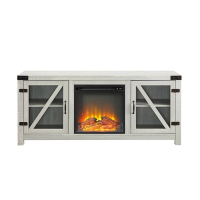 """Clarabelle Double Glass Door Rustic Electric Fireplace with TV Stand for TVs up to 65"""" - Saracina Home"""