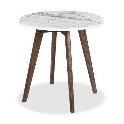 """20"""" Gabrielle Marble Round Side Table - Poly & Bark"""