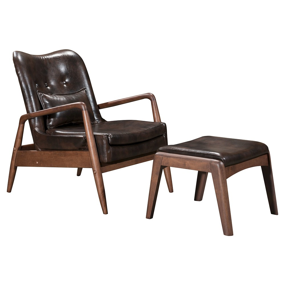 Upholstered Mid-Century Modern Sculpted Lounge Chair and Ottoman - Brown - ZM Home