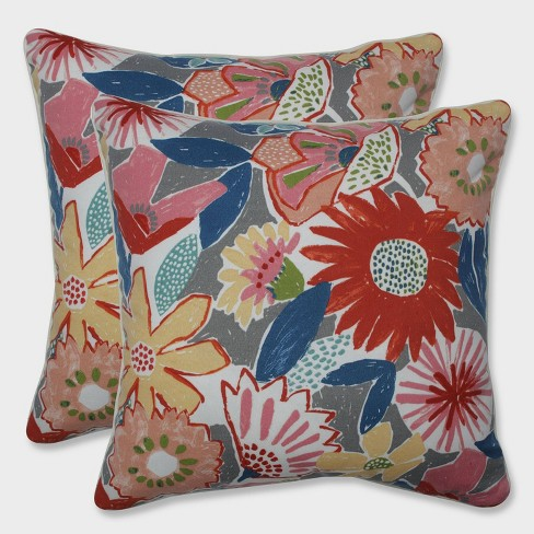 """18.5"""" 2pk Catching Rays Poppy Throw Pillows Gray - Pillow Perfect - image 1 of 1"""