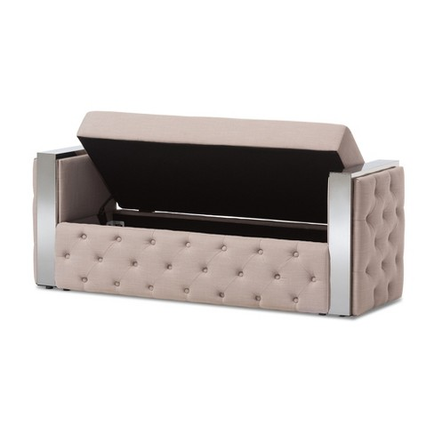 Fiona Modern And Contemporary Stainless Steel Linen Fabric On Tufted Storage Bed End Bench Beige Baxton Studio Target