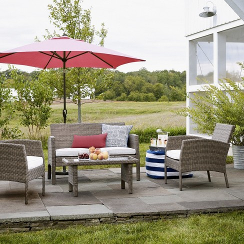 Tremendous Fulham 4Pc All Weather Wicker Patio Conversation Set Tan Project 62 Download Free Architecture Designs Lectubocepmadebymaigaardcom