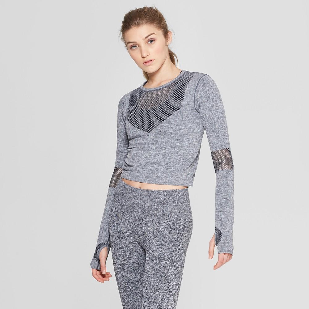 Women's Seamless Long Sleeve Crop Shirt - JoyLab Navy (Blue) S