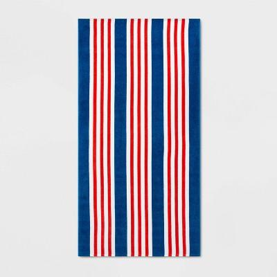 Striped Beach Towel Red/Blue - Sun Squad™