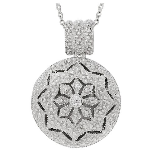 "0.01 CT. T.W. Round-cut CZ Bezel Set Round Locket Pendant Necklace in Sterling Silver - Silver (16"") - image 1 of 3"