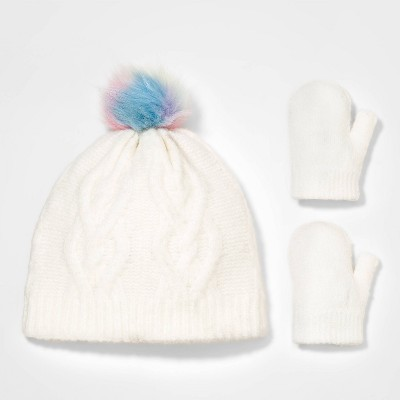 Toddler Girls' 2pk Cable Knit Beanie with Magic Mittens - Cat & Jack™ Cream 12-24M