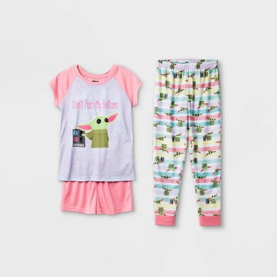 Girls' Star Wars The Child 'Don't Push Buttons' 3pc Pajama Set - Pink/White