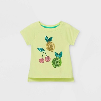 Toddler Girls' Sequin Fruit Short Sleeve T-Shirt - Cat & Jack™ Yellow