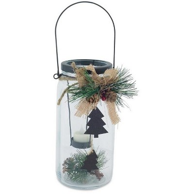 """Melrose 9.75"""" Country Cabin Glass Jar with Dangling Tree Accent Christmas Tea Light Candle Holder"""