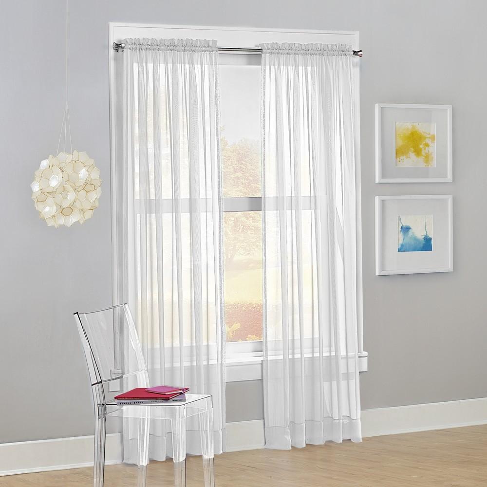 Calypso Sheer Voile Rod Pocket Curtain Panel White 59