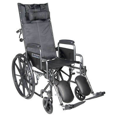 """Drive Medical Silver Sport Reclining Wheelchair with Elevating Leg Rests, Detachable Desk Arms, 18"""" Seat"""