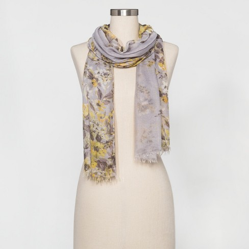 Women's Floral Scarf - A New Day™ Gray/Yellow - image 1 of 2