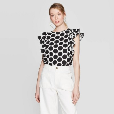 view Women's Polka Dot Double Ruffle Sleeveless Scoop Neck Blouse - Who What Wear White/Black on target.com. Opens in a new tab.