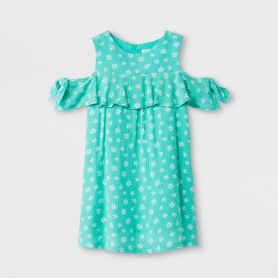 Toddler Girls' Dress with Crinkle Gauze - Cat & Jack™ Green 18M