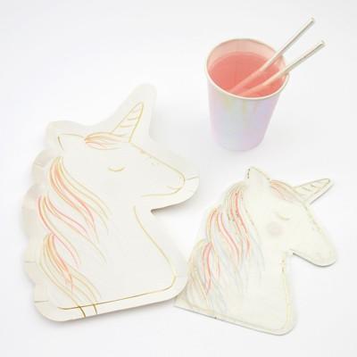 Meri Meri - Unicorn Party Supplies Collection (Plate, Napkin & Cup) - Set of 8