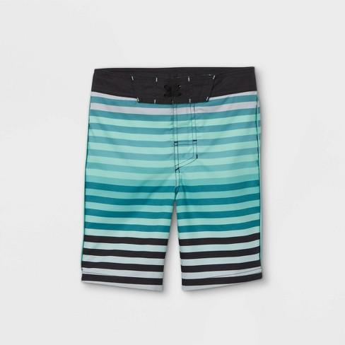 Boys' Gradient Striped Swim Trunks - art class™ Teal - image 1 of 2