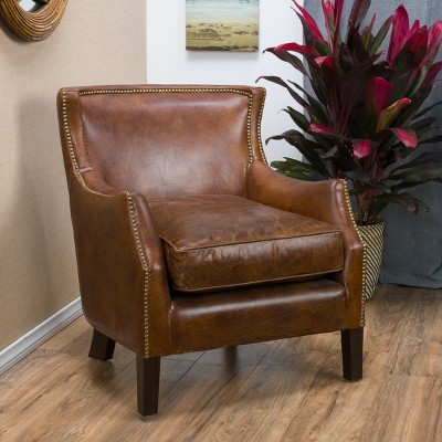 Genial Njord Vintage Leather Club Chair   Light Brown   Christopher Knight Home :  Target
