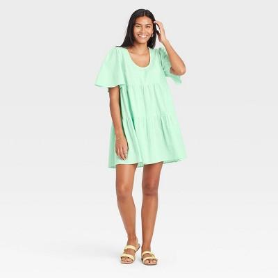 Women's Flutter Short Sleeve Tiered Dress - A New Day™