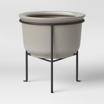 Medium Ceramic Planter with Metal Stand White - Threshold™