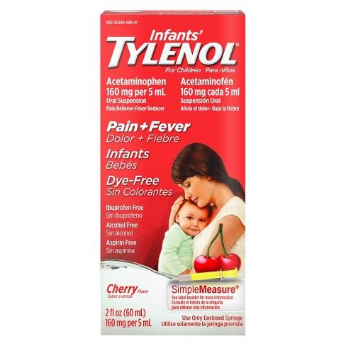 Infants' Tylenol Pain & Fever Reducer Liquid - Acetaminophen - Dye-Free Cherry - 2 fl oz - image 1 of 4