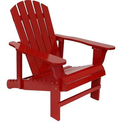 Wood Adirondack Chair with Adjustable Backrest - Red - Sunnydaze Decor