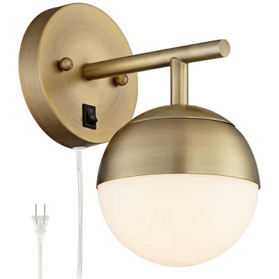 360 Lighting Mid Century Modern Wall Lamp Antique Brass Plug-In Light Fixture Frosted Glass Globe for Bedroom Living Room Reading