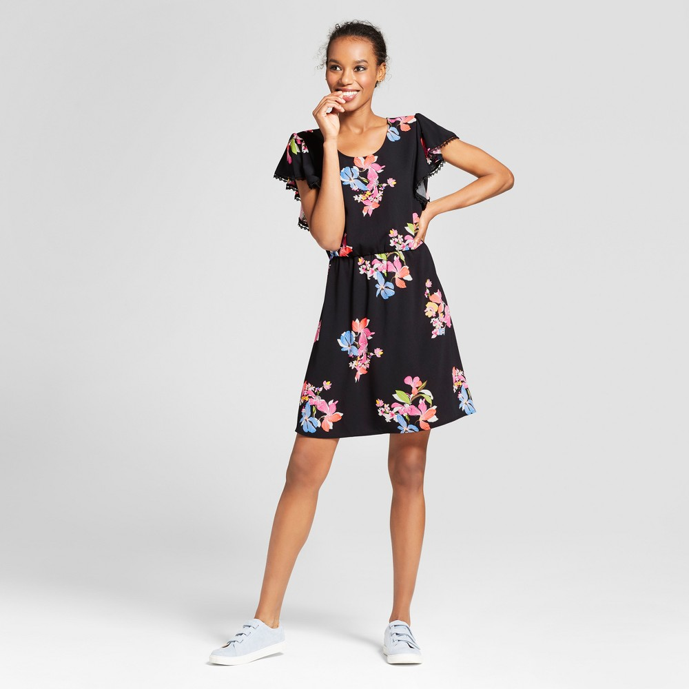 Women's Floral Ruffle Sleeve Dress - A New Day Black Multi M