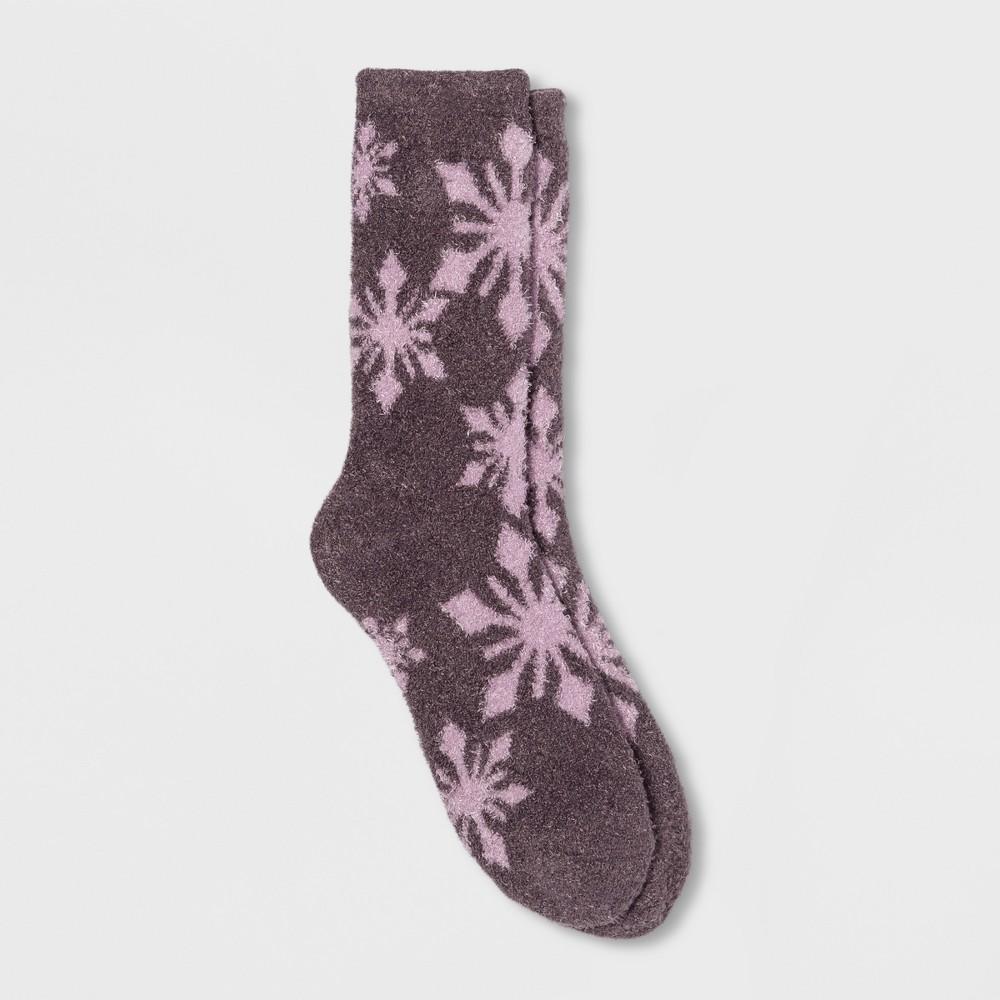 Women's Snowflake Cozy Crew Socks Purple One Size