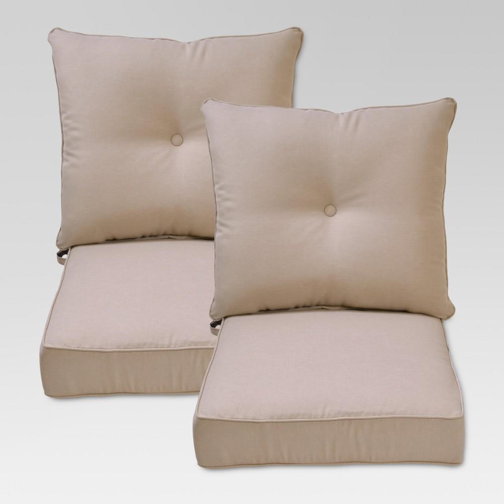 Folwell 2pk Outdoor Deep Seat/Back Cushion - Tan - Threshold