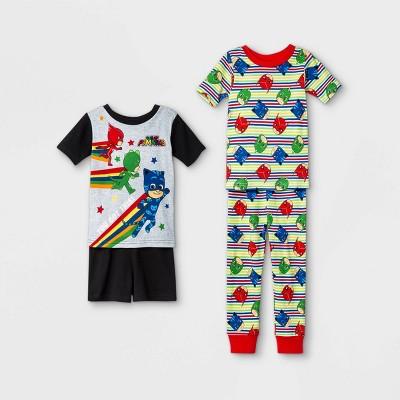 Toddler Boys' 4pc 100% Cotton PJ Mask Snug Fit Pajama Set - Black