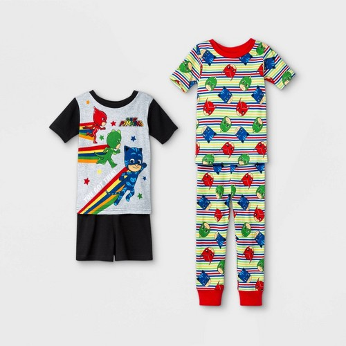 Toddler Boys 4pc 100 Cotton PJ Mask Snug Fit Pajama Set Blac