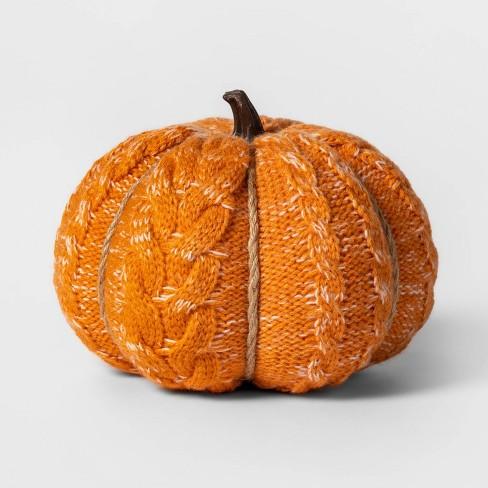 Knit Orange Pumpkin Halloween Decoration Medium - Spritz™ - image 1 of 1