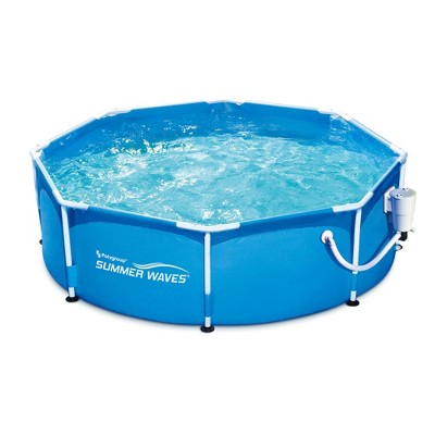 Summer Waves P2000830A Active 8ft x 30in Outdoor Round Frame Above Ground Swimming Pool Set with Filter Pump and Type D Filter Cartridge, Blue