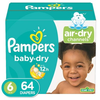 Pampers Baby Dry Diapers, Super Pack - Size 6 - 64ct