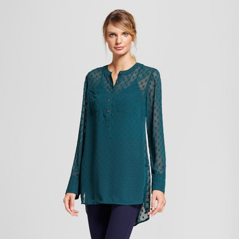Women's Clip Spot Tunic - A New Day™ Dark Green - image 1 of 3