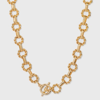 Twisted Toggle Closure Chain Statement Necklace - A New Day™ Gold